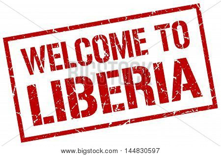 welcome to Liberia. stamp. grunge square sign