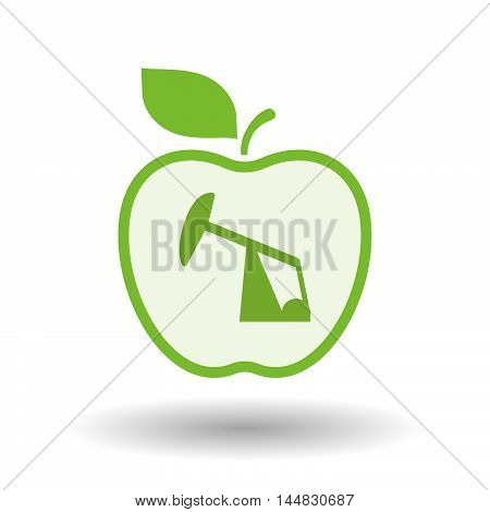 Isolated  Line Art  Apple Icon With A Horsehead Pump