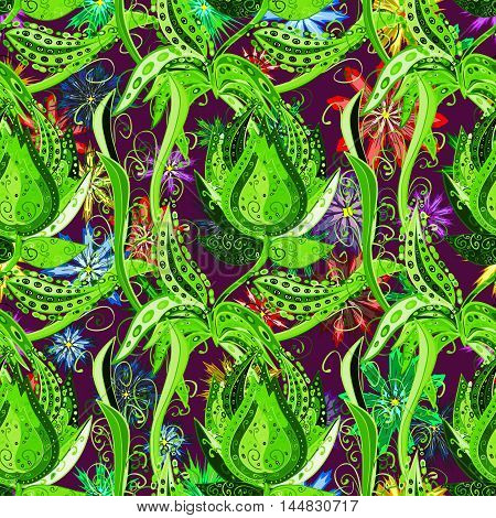 Doodles green flowers on colorful floral background. Vector.