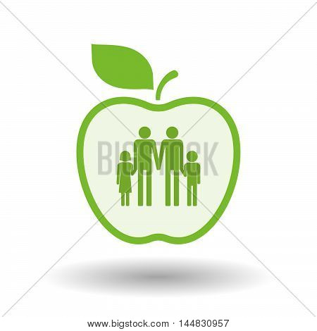 Isolated  Line Art  Apple Icon With A Gay Parents  Family Pictogram