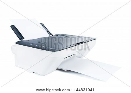 Printer on white isolated high quality and high resolution studio shoot