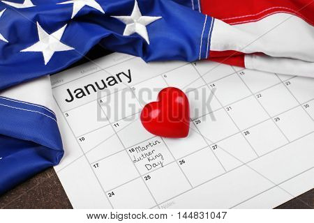 Calendar with marced Martin Luther King day. American holidays concept