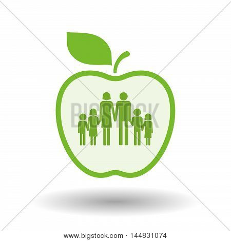 Isolated  Line Art  Apple Icon With A Large Family  Pictogram