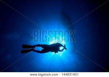 Scuba diving under dive boat