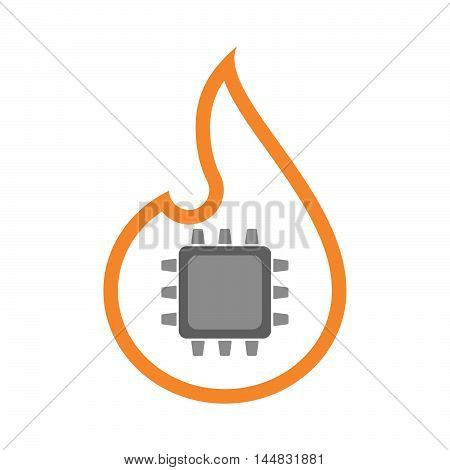 Isolated  Line Art  Flame Icon With A Cpu