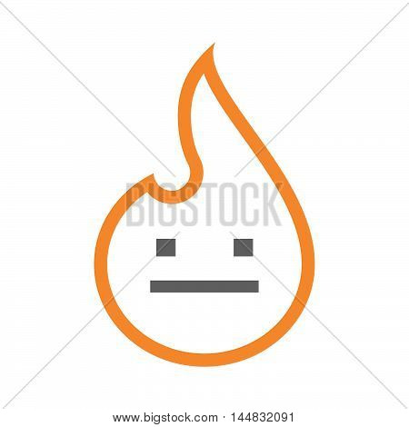 Isolated  Line Art  Flame Icon With A Emotionless Text Face