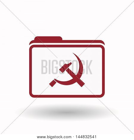 Isolated  Line Art Folder Icon With  The Communist Symbol