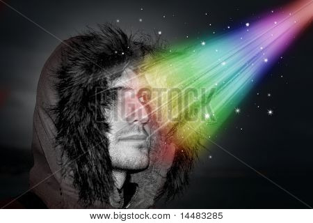 Pensive Man during a Magic Revelation with a winter jacket