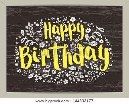 Happy Birthday text with floral pattern in oval shape design vector graphic