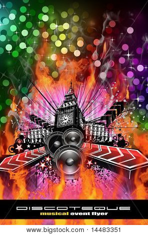 Abstract Urban Discoteque Event Background for Flyers