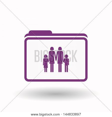 Isolated  Line Art Folder Icon With A Lesbian Parents Family Pictogram