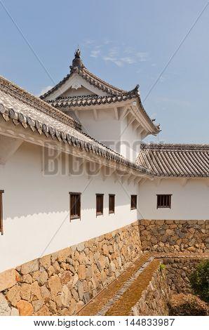 HIMEJI JAPAN - JULY 21 2016: Hyakkenroka (Connecting Corridor) in West Bailey of Himeji castle (White Egret Castle 1609). Himeji-jo is National Treasure of Japan and UNESCO World Heritage Site