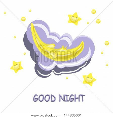 Fanny cartoon vector illustration Good Night, yellow sleeping moon and smiling stars,  purple clouds on white