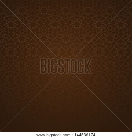Traditional Arabic ornament on a dark brown background. Girih - Islamic decorative art. Vector brown background