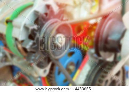 Blur image closeup of modern automobile motor car engine part