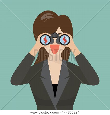 Business woman use binoculars looking for money. vector illustration