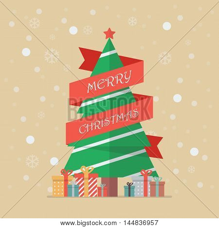 Christmas tree with red ribbon. greeting card
