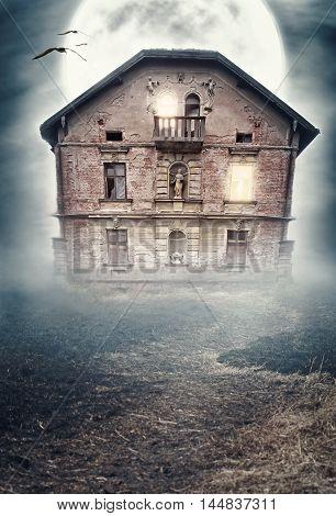 Haunted Derelict Old House. Halloween Design