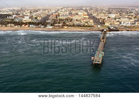 Aerial view on the coast in Namibia and historical districts of the city Swakopmund in the Namib desert Atlantic ocean Africa