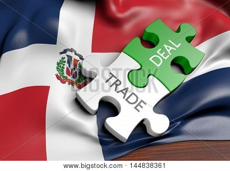 Dominican Republic trade deals and international commerce concept, 3D rendering