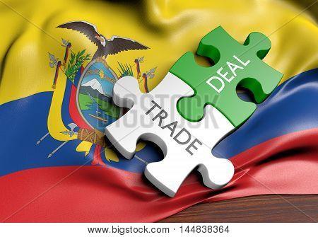 Ecuador trade deals and international commerce concept, 3D rendering