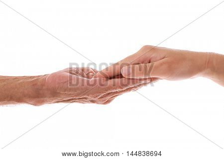 Old male and young female hands on white background