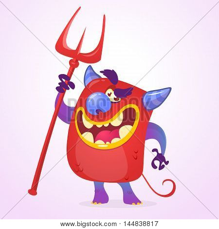 Funny cartoon red devil with trident. Halloween vector isolated