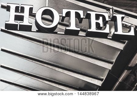 Hotel symbol with copy space in Spain