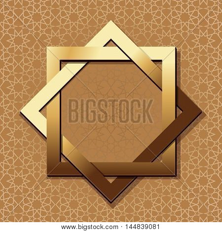 Golden frame in arabic style with empty space for text. Elegant islamic template design. Islamic background. Vector illustration