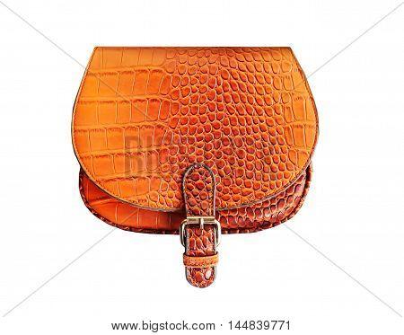 Llittle orange summer bright women's bag isolated on white background