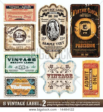 Vintage Labels Collection - 8 design elements with original antique style -Set 2