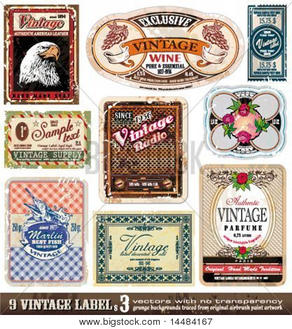 Vintage Labels Collection - 9 Design-Elemente mit original antikem Stil - Set 3