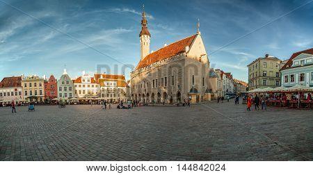 Estonia Tallinn - 7 JUNE 2016: Tallinn town hall square panoramic view