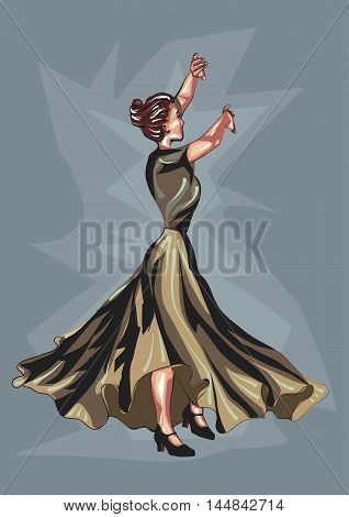 flamenco dancer. woman dansing traditional spanish dance