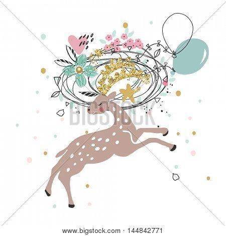 happy jumping deer