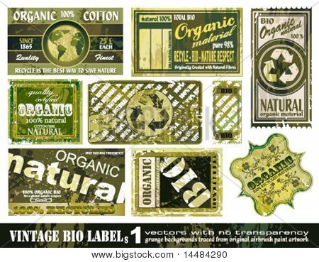 Vintage BIO labels collection with 9 grunge style sticker backgrounds - Set 1