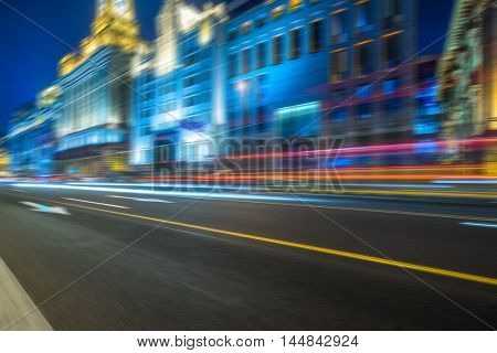 vehicle light trails at city road,shanghai,china.