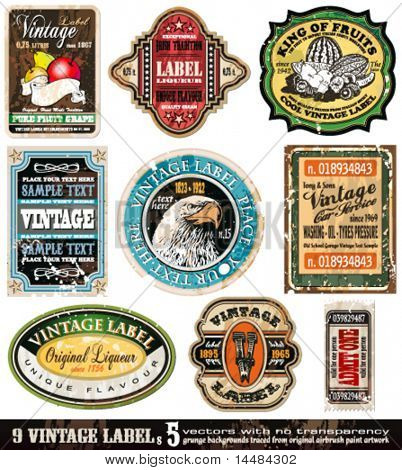 Vintage Labels Collection - 9 Design-Elemente mit original Antik style - Set 5