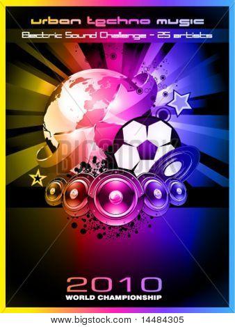 Abstracto colorido mundo fútbol campeonato 2010 Fondo para fiestas volantes