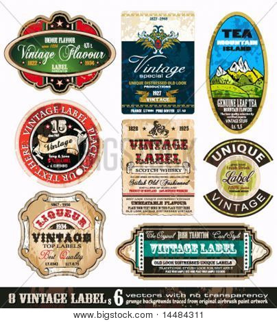 Vintage Labels Collection - 9 design elements with original antique style -Set 6