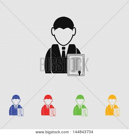 Chartered businessman vector icon for web and mobile.