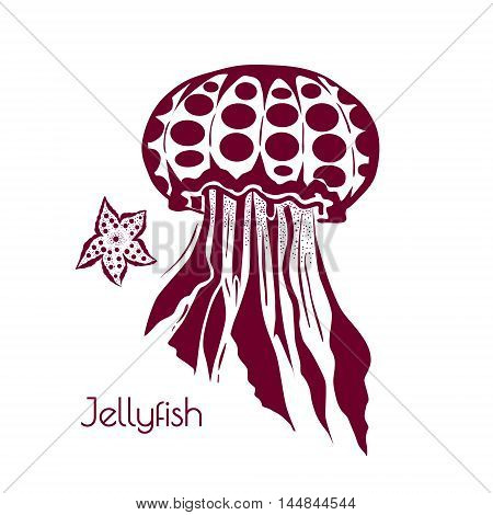 Hand drawn, tattoo stylised jellyfish. Marine life sketch zentangle design element for summer vacation vector illustration