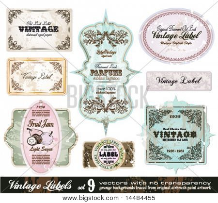 Vintage Labels Collection - 8 design elements with original antique style -Set 9
