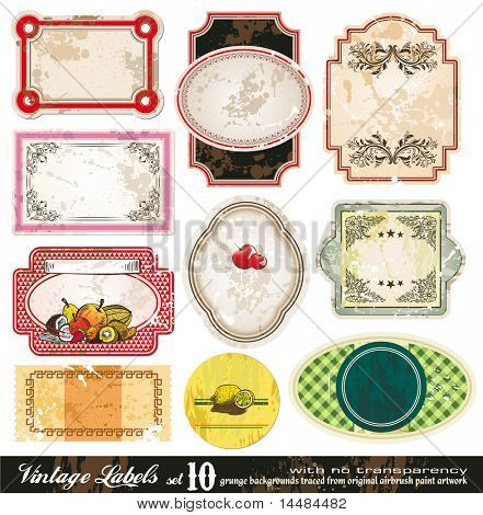 Vintage Labels Collection - 10 design elements with original antique style -Set 10