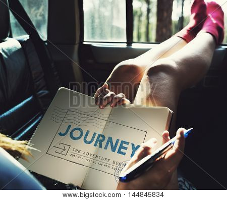 Journey Adventure Post Stamp Travel Concept