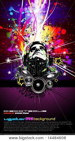 Abstrakt bunt DJ Disco Flyer mit Regenbogenfarben