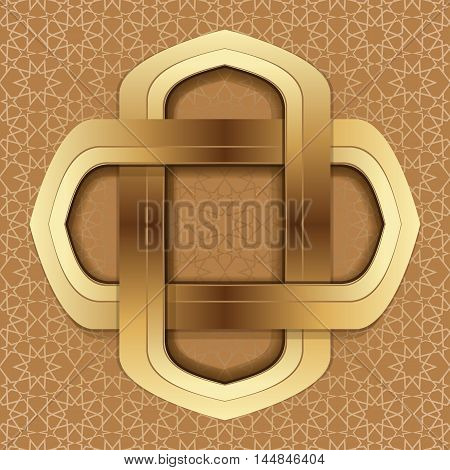Golden frame on the background of the Arab ornament. Elegant islamic template design on a brown arabic background. Vector illustration