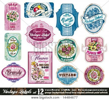 Vintage Labels Collection - 12 design elements with original antique style -Set 12