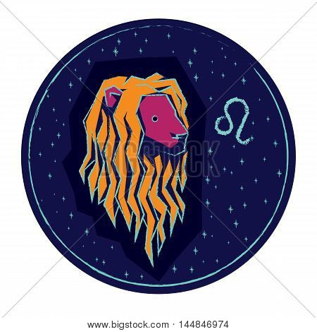 Zodiac sign Leo on night starry sky background. Vector illustration.
