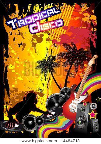 Tropical música evento Disco Volante con colores del arco iris